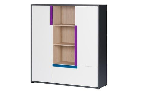 Karlo White With Graphite Effect Wide 2 Door Sideboard With Bookcase SZIK13